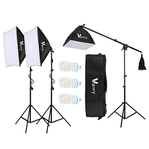 Vamery 220V 65W Photo Studio Photography 3 Soft Box Light Stand Continuous Light