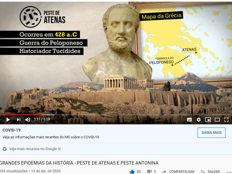 Novo vídeo do Canal Historiar (Youtube) - Peste de Atenas e Peste Antonina