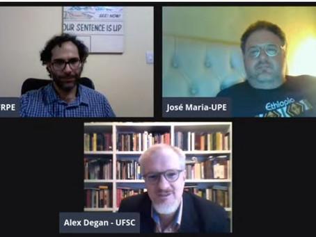 """Debate online sobre """"A vida de Brian"""", com Uiran Gebara da Silva, José Maria Neto e Alex Degan"""