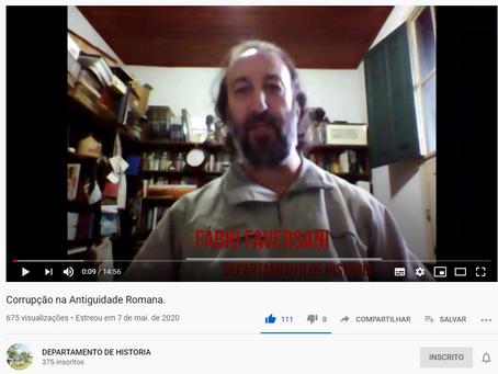 """[youtube] Canal Dep. de História/UFOP: """"Corrupção na Antiguidade Romana"""", por Fábio Faversani (UFOP)"""