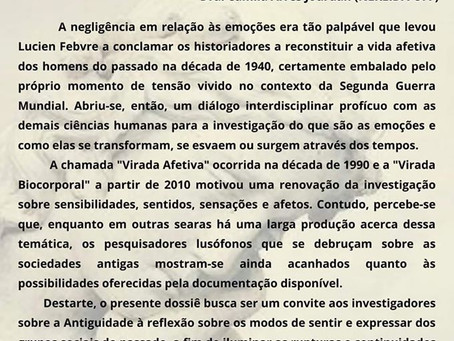 """Revista Hélade lança chamada para dossiê """"Emoções e sensibilidades no Mundo Antigo"""""""