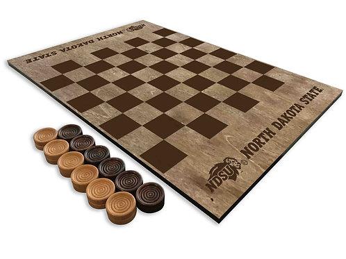 North Dakota State Bison Wooden Checkerboard