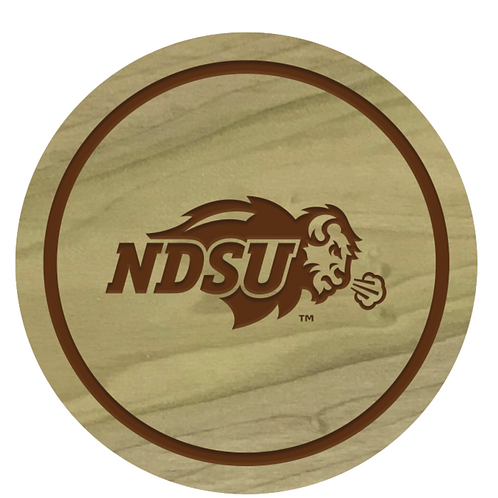 North Dakota State Bison Wood Coaster Set