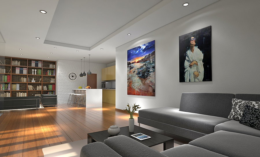Living Room with Paintings