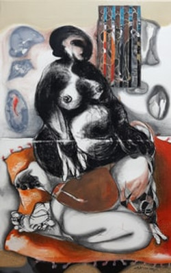 An Open Window 1-Charcoal, conte,acrylic