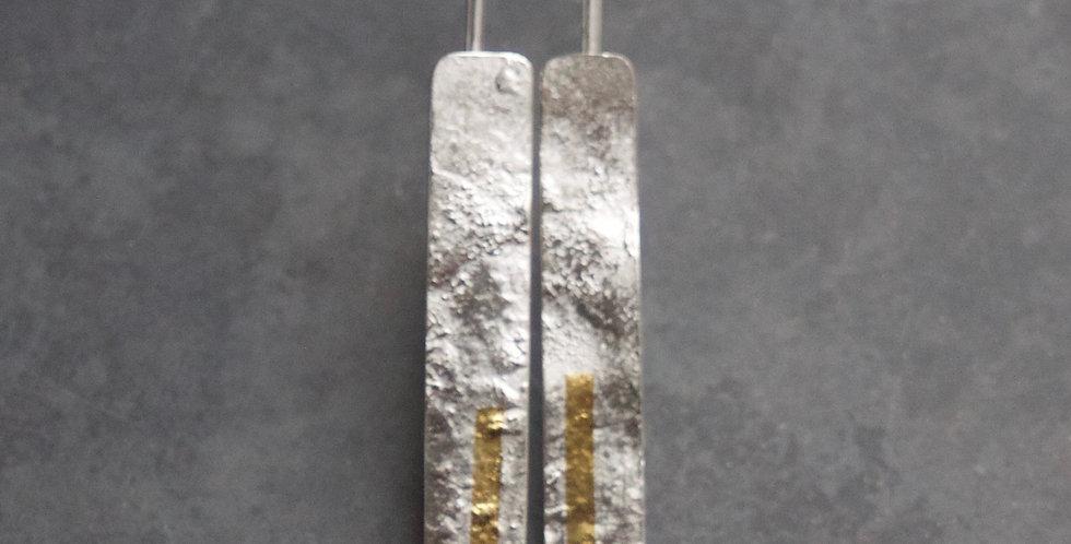 LINEAR Silver Long Drop Earrings front view