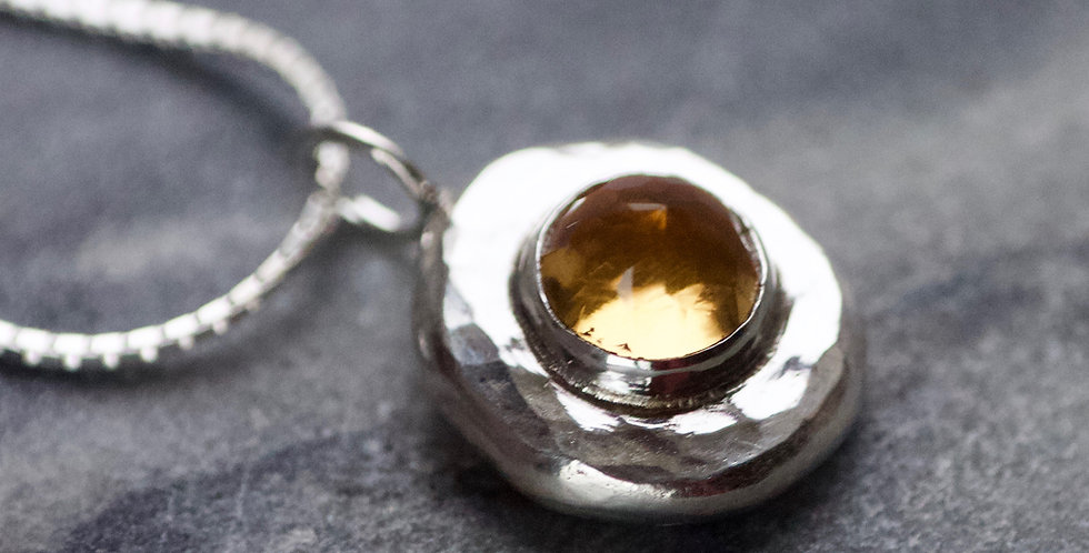 Citrine & Recycled Silver Pebble Pendant Necklace