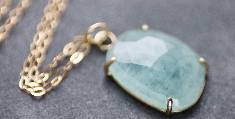 Aquamarine & 9ct Gold Pendant Necklace