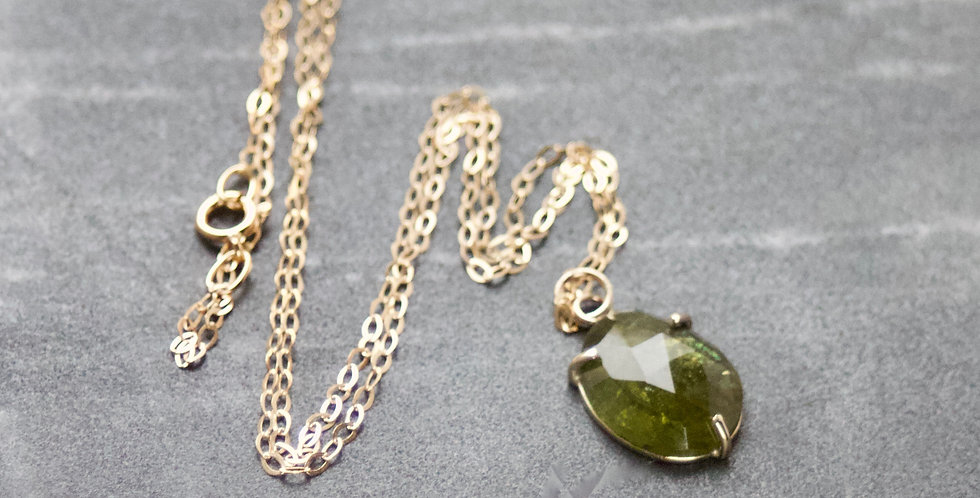 Olive Green Tourmaline & 9ct Gold Pendant Necklace