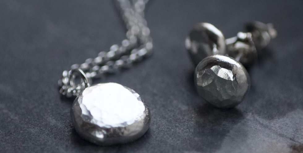 Chunky Hammered Recycled Silver Necklace & Earrings Gift Set