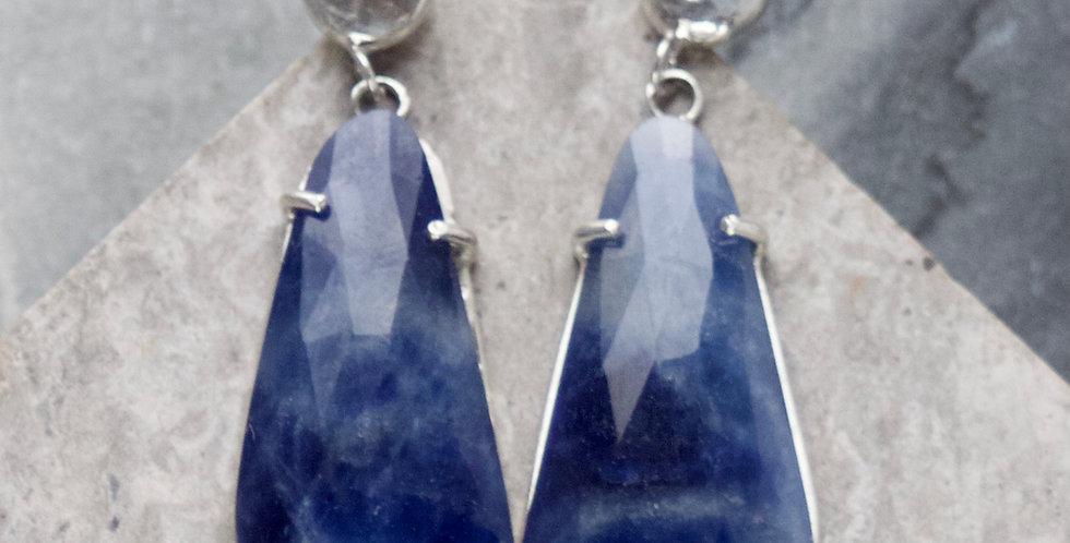 Blue Sapphire & Silver Drop Earrings