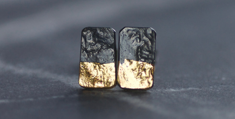 LINEAR Oxidised Mini Dip Block Stud Earrings
