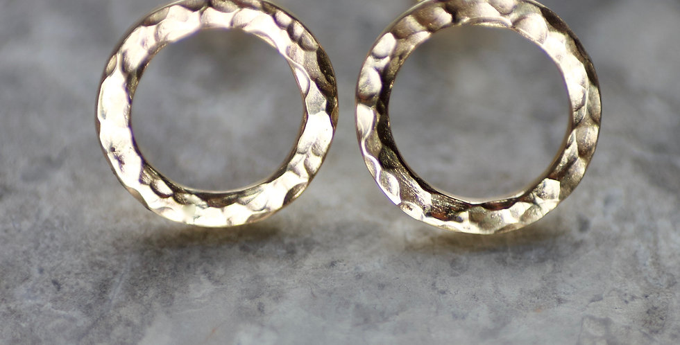 Recycled Hammered Solid 9ct Gold Halo Circle Studs