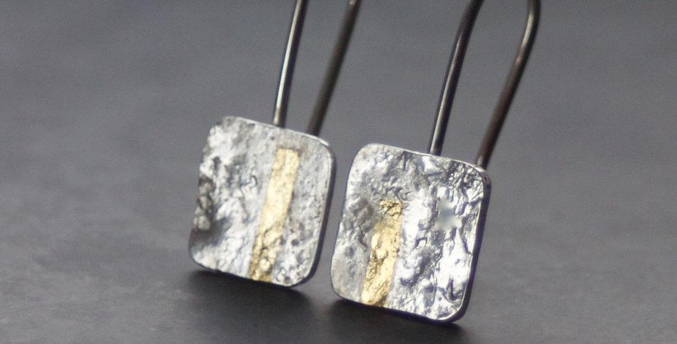 LINEAR Silver Square Drop Earrings