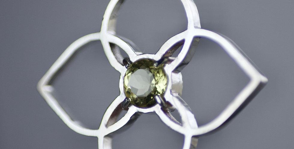 Lemon Quartz & Silver Floral Pendant
