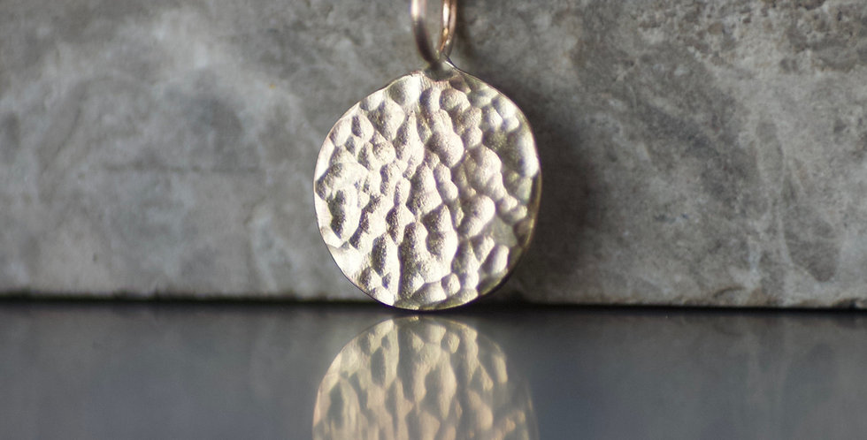 Solid Recycled 9ct Gold Hammered Disc Pendant Necklace