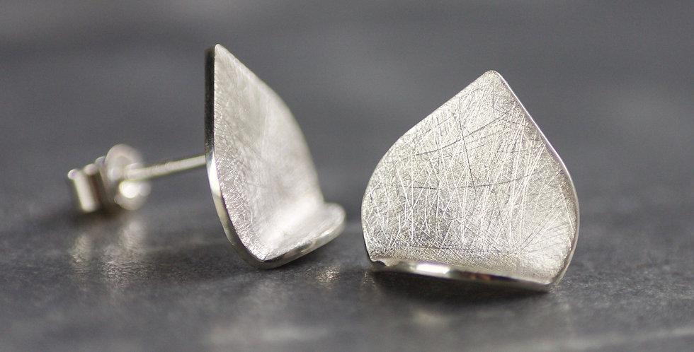 LC Sterling Silver Cross Hatch Fold Teardrop Stud Earrings