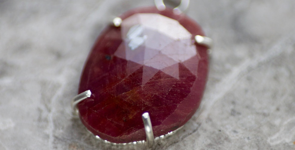 Ruby & Silver Pendant Necklace