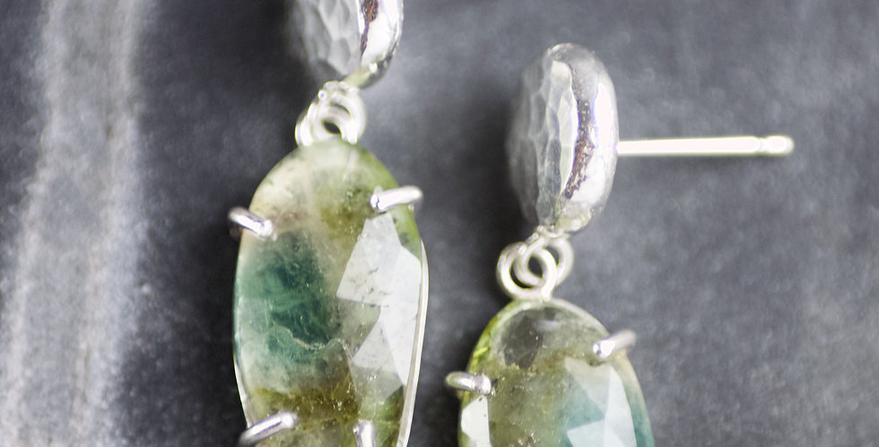 Freeform Green Tourmaline Drop Earrings