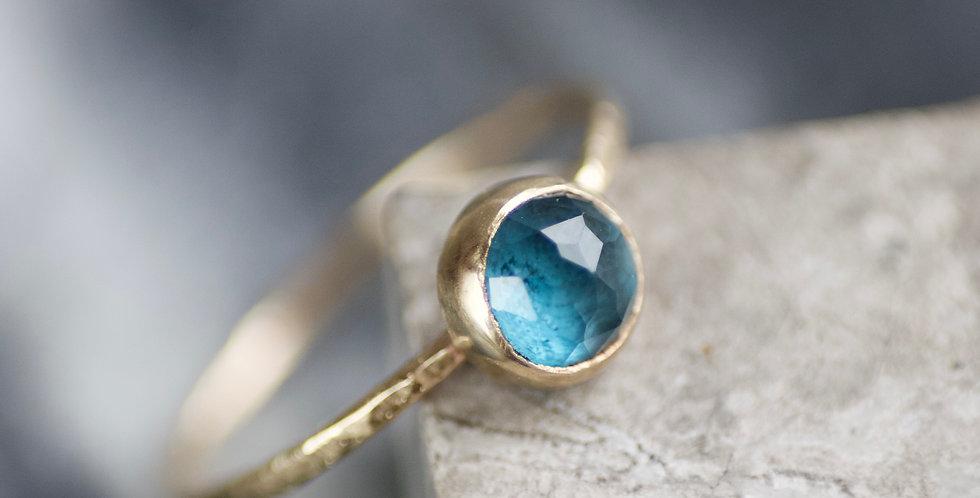 Blue Topaz 9ct Gold Skinny Ring UK Size