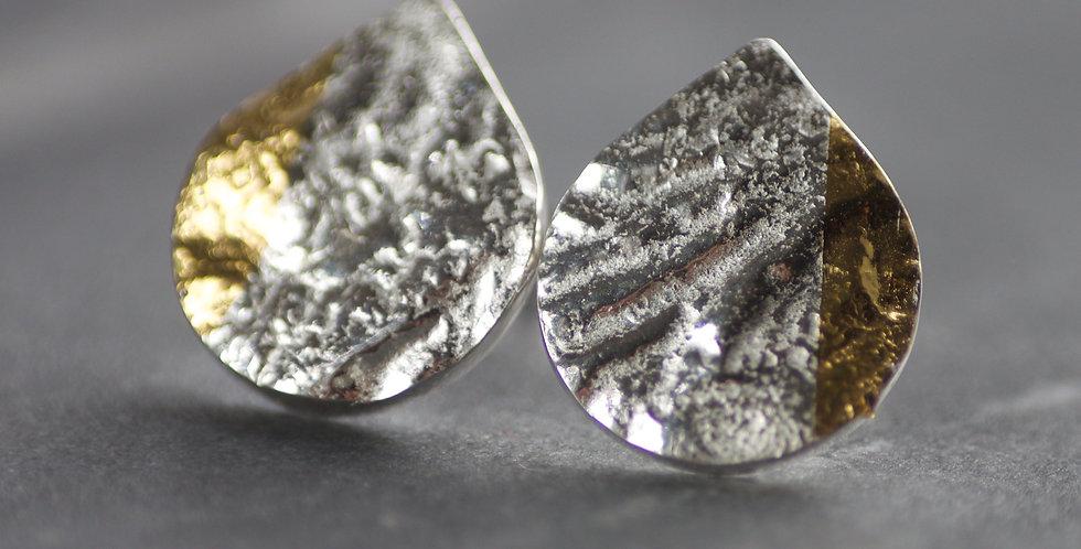 LC Silver & Gold Keum Boo Teardrop Stud Earrings