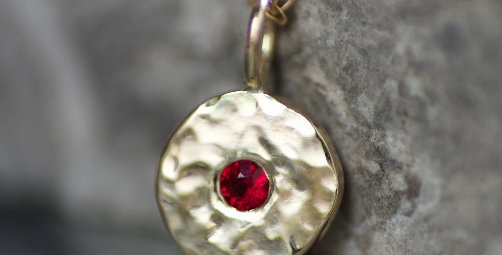 Ruby & Recycled Solid 9ct Yellow Gold Pebble Pendant Necklace