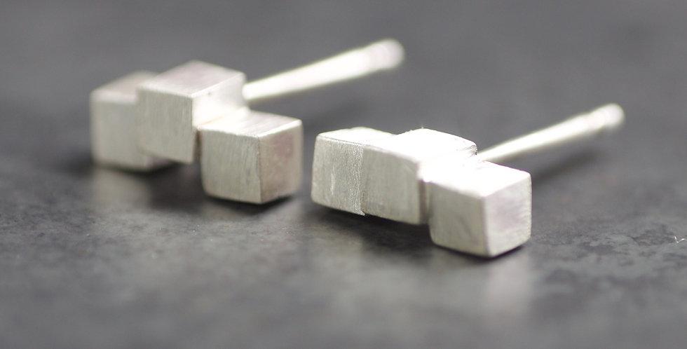 Solid Sterling Cube Stud Earrings