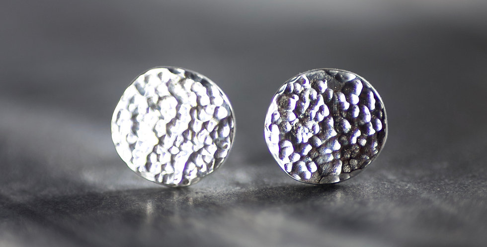 Recycled Hammered Solid Sterling Silver Disc Studs