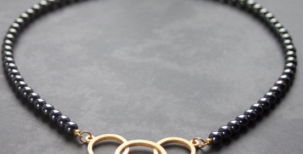 Triple LC Large Haematite Necklace