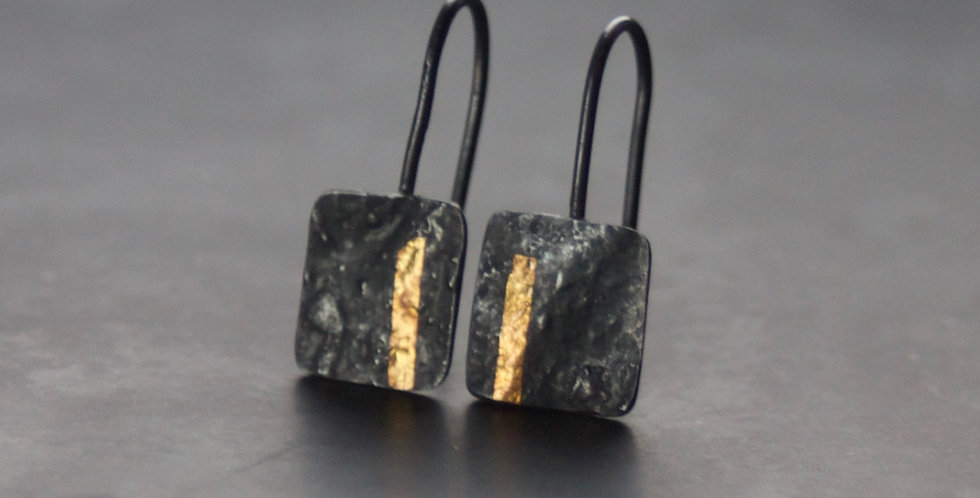 LINEAR Oxidised Square Drop Earrings