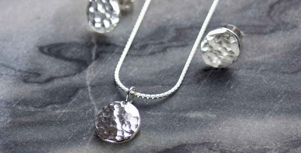 Hammered Recycled Silver Necklace & Earrings Gift Set