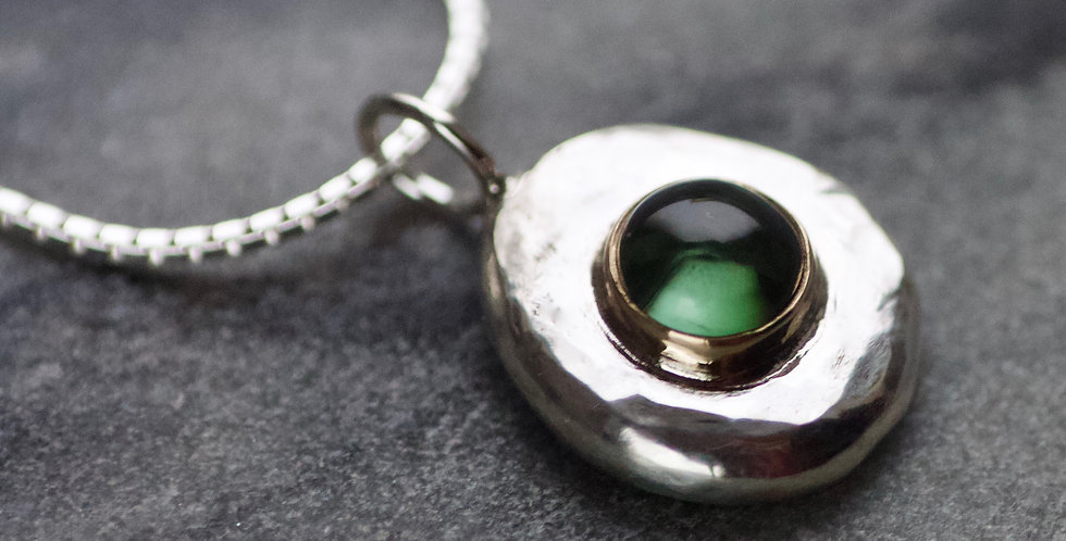 Green Tourmaline Recycled Silver & Gold Pebble Pendant Necklace