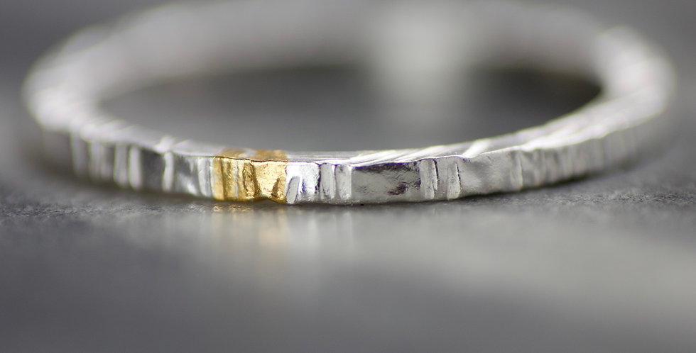 Polished Silver & Gold Linear Textured Skinny Ring