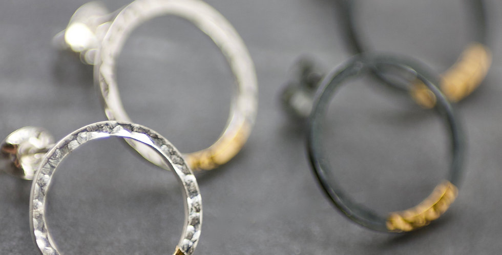 Keum-Boo Hammered Sterling Silver & 24ct Gold Hoop Studs