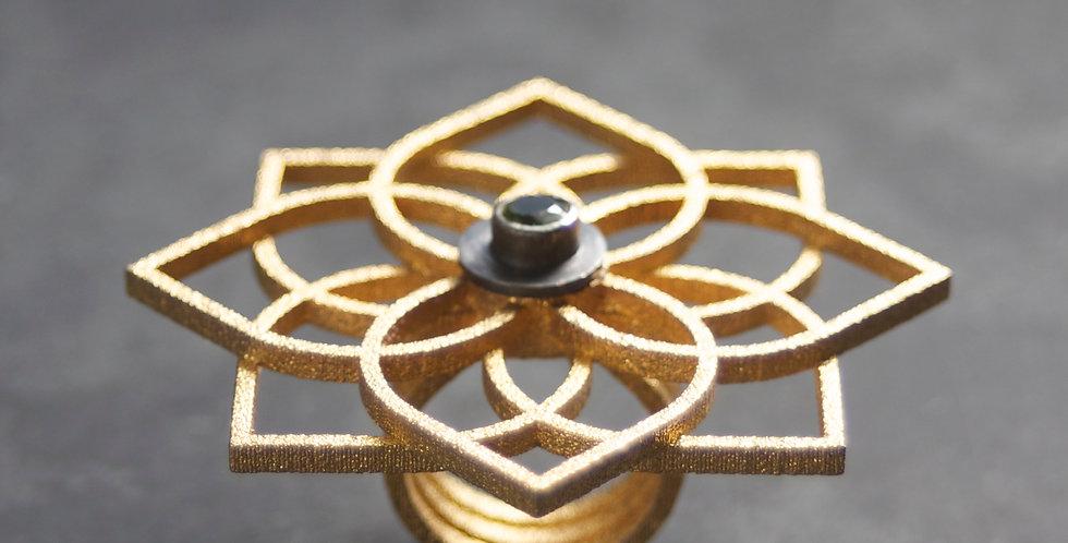 Triple QUATREFOIL Ring with Peridot