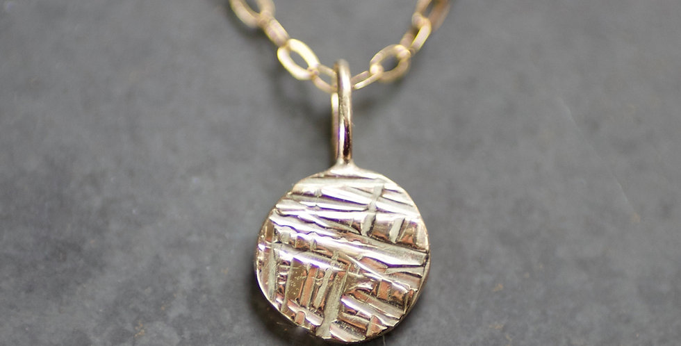 Solid Recycled 9ct Gold Criss Cross Disc Pendant Necklace