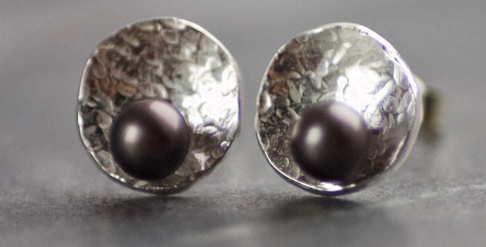 GEOM Mini Pearl & Recycled Sterling Silver Stud Earrings