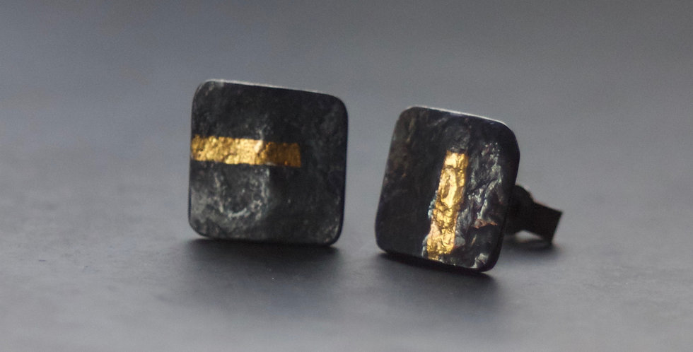 LINEAR Oxidised Square Stud Earrings
