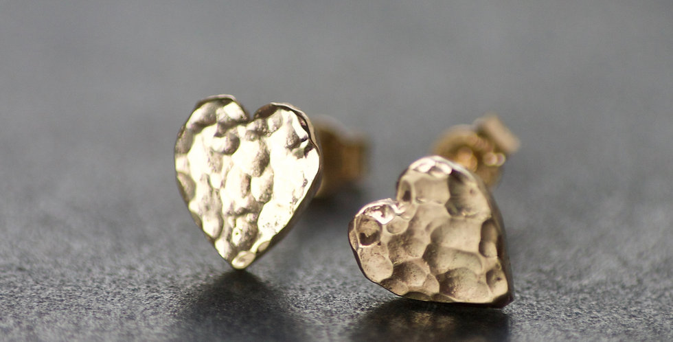 LIMITED EDITION Solid 9ct Gold Heart Stud Earrings
