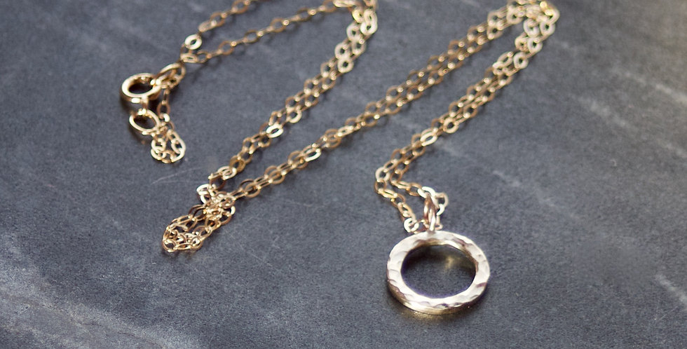 Solid Recycled 9ct Gold Hammered Halo Circle Pendant Necklace