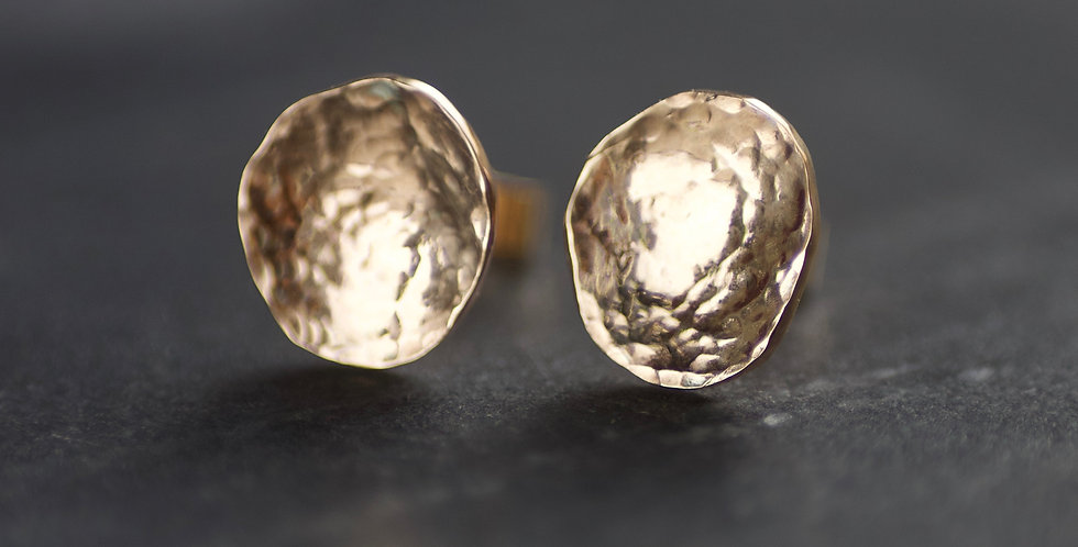 Recycled Hammered Solid Yellow 9ct Gold Studs