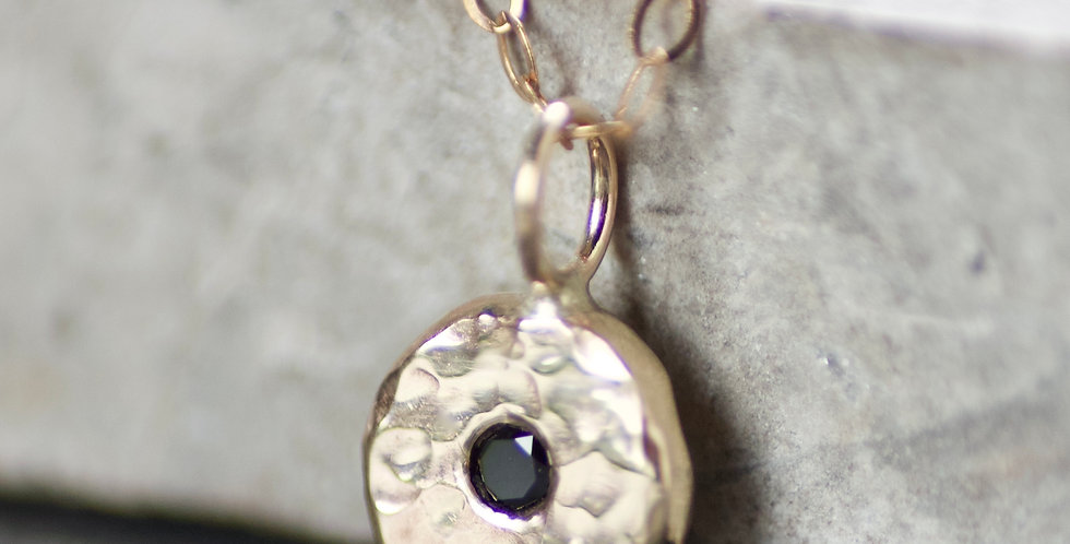 Black Diamond & Recycled Solid 9ct Yellow Gold Pebble Pendant Necklace
