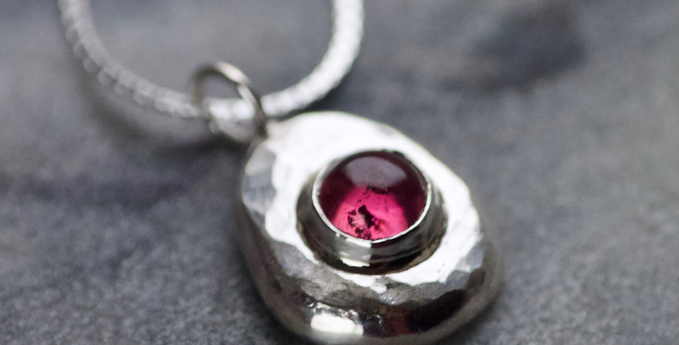Pink Tourmaline & Recycled Silver Pebble Pendant Necklace