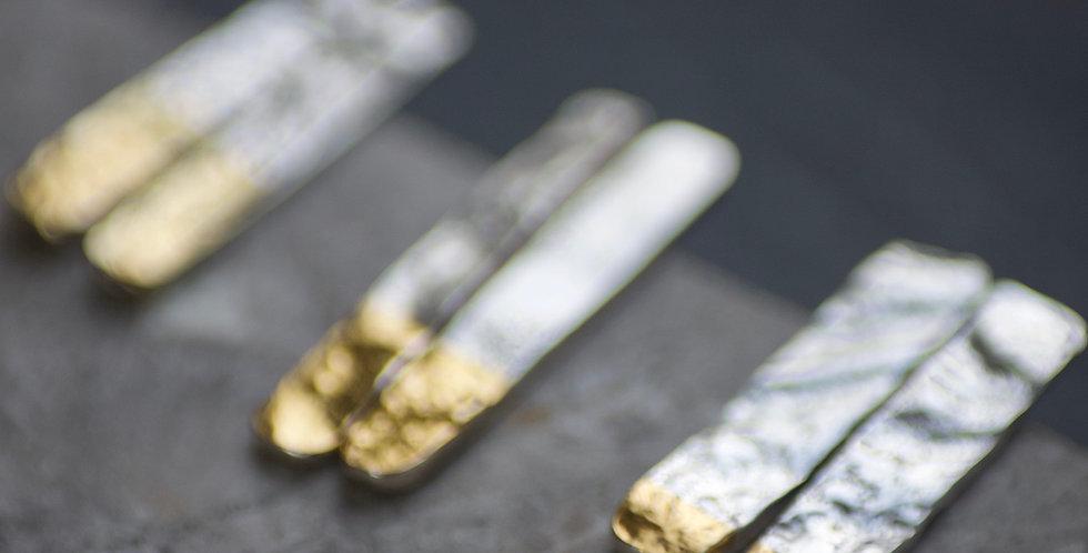 Mini LINEAR Long Dip Gold & Silver Textured Column Studs