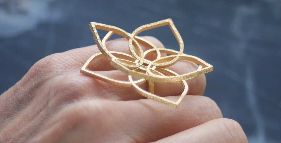 Statement 3D Printed Goldplated Steel Floral Ring