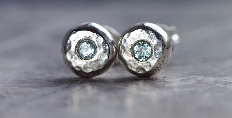 Aquamarine & Recycled Hammered Solid Sterling Silver Pebble Studs