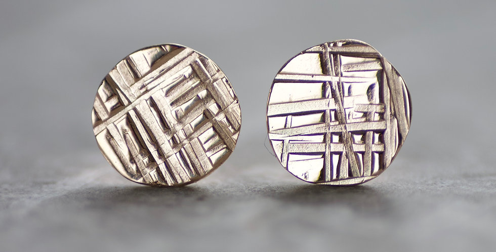 Recycled Solid 9ct Gold Criss Cross Disc Studs