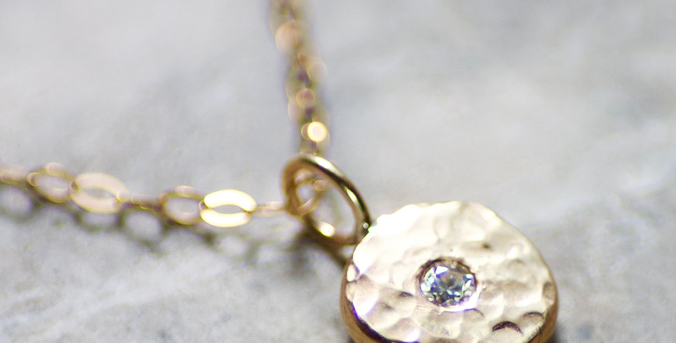 Diamond & Recycled Solid 9ct Yellow Gold Pebble Pendant Necklace