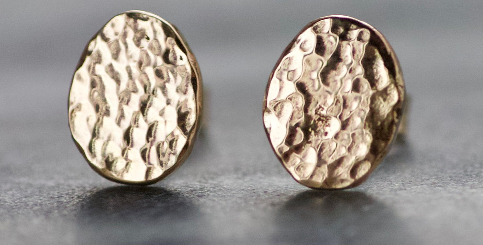 Oval Recycled Hammered Solid 9ct Gold Disc Studs