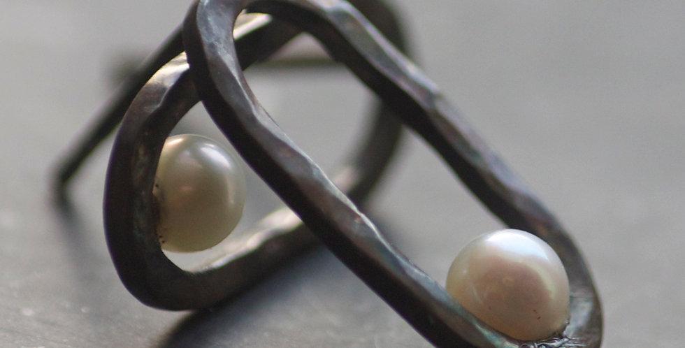GEOM Oxidised Pearl Loop Sterling Silver Stud Earrings
